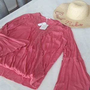 Beautiful bell sleeve coral boho top XL